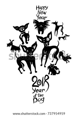 Hand drawn Dogs 2018. New Year on the Chinese calendar. Ink doodle doggies.