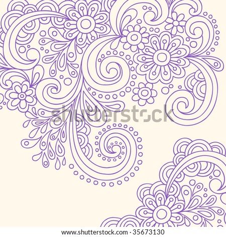stock vector : Hand-Drawn Doodle Abstract Henna Paisley Vector