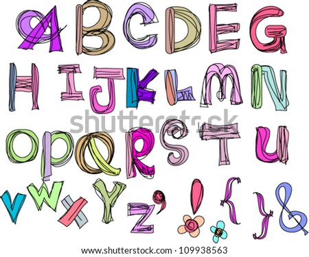 hand drawn doodle alphabet,vector illustration , a to z