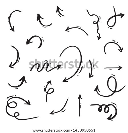 hand drawn Doodle arrow set ,vector illustration