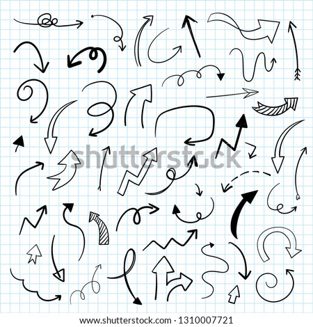 Hand-drawn doodle arrows vector set