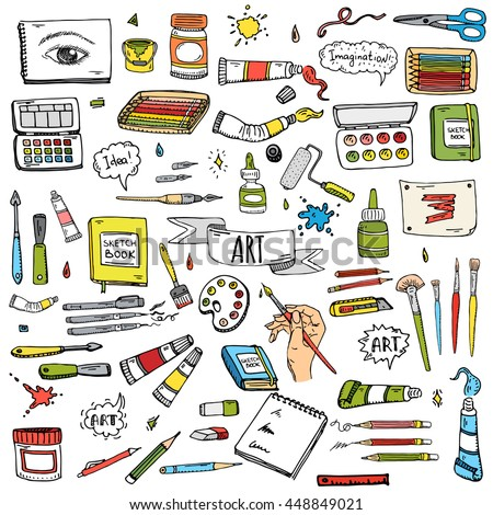 Hand drawn doodle Art and Craft tools icons set. Vector illustration art instruments symbols collection