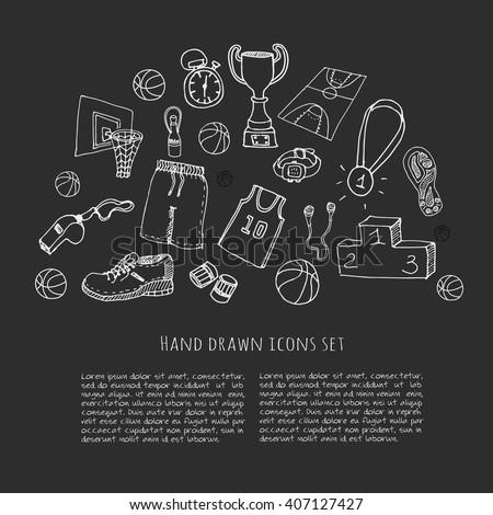hand drawn doodle basketball