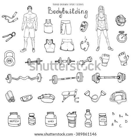 hand drawn doodle bodybuilding