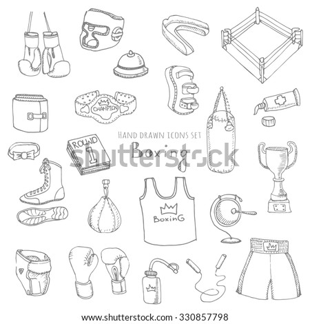 Hand drawn doodle boxing set Vector illustration Sketchy sport related icons boxing elements, boxing uniform, gloves, shoes, helmet, boxing ring, belt, trophy, box, martial art, combat sport