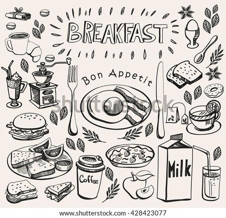 hand drawn doodle breakfast set