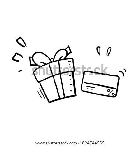hand drawn doodle card and fift illustration symbol for Gift card, loyalty program, earn points, redeem present box, more discount, perks concept cartoon