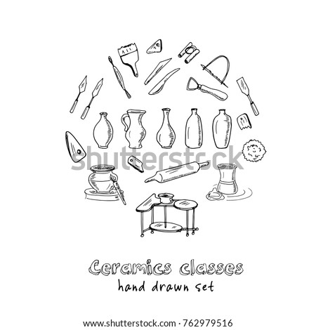 Hand drawn doodle ceramic classes set. Vector illustration. Isolated elements on white background. Symbol collection.