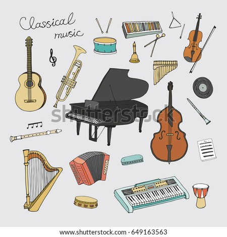hand drawn doodle classical...