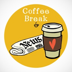 Hand drawn doodle coffee break icon isolated on bright yellow circle. Morning newspaper and cup of coffee to go.