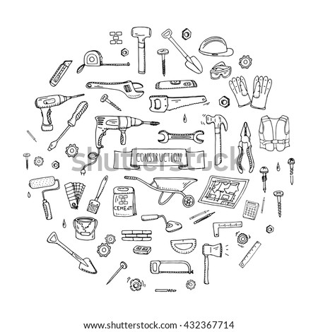 Hand drawn doodle Construction tools set. Vector illustration building icons House repair concept collection Modern sketch style labels of home remodel gear elements and symbols Saw Hammer Screwdriver