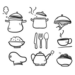 hand drawn doodle cooking icon set isolated background