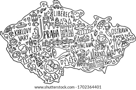Hand drawn doodle Czech Republic map. Czech city names lettering and cartoon landmarks, tourist attractions cliparts. travel, banner concept design. Praha, Karlovy Vary, zoo, train Foto stock ©