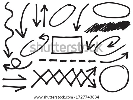 Hand drawn doodle design graphic elements. Hand drawn arrows circles and abstract doodle writing design.  white background.