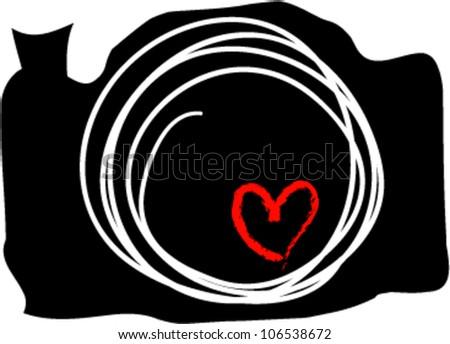 hand drawn doodle digital camera illustration with sketch little love heart