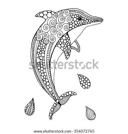 hand drawn doodle dolphin