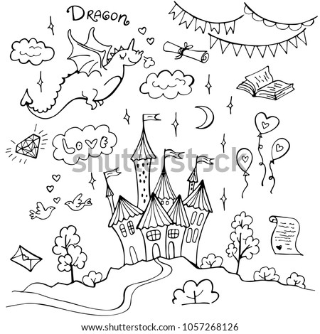 Stock Photo Hand drawn doodle dragon and fairytale set isolated on white. Vector illustration. Perfect for invitation, greeting card, coloring book, textile print.
