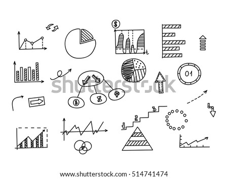 Hand drawn doodle element: chart, graph, diagram. Concept business and finance analytics earnings.
