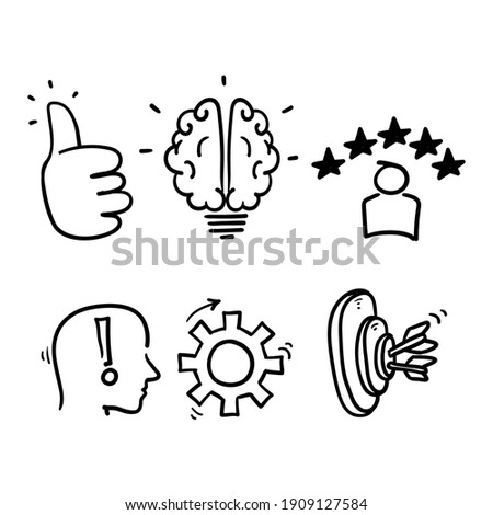 hand drawn doodle element symbol for competence, skills and knowledge concept in doodle style vector Photo stock ©
