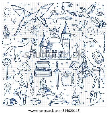 hand drawn doodle fairy tale