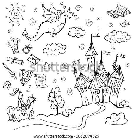 Stock Photo Hand drawn doodle fairytale set isolated on white. Dragon, knight, road, castle, sun. Vector illustration. Perfect for invitation, greeting card, coloring book, textile print.