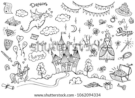 Stock Photo Hand drawn doodle fairytale set isolated on white. Dragon, princess, knight. Vector illustration. Perfect for invitation, greeting card, coloring book, textile print.