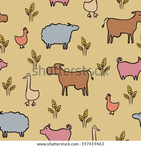 hand drawn doodle farm animals and birds, colorful childish seamless pattern
