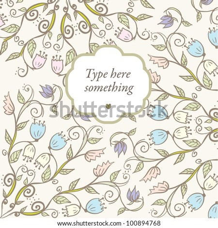 Hand drawn doodle floral ornamental background in pale colors.