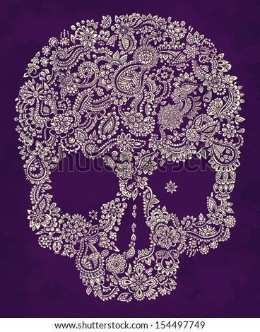 hand drawn doodle floral skull