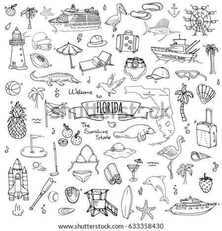 Hand drawn doodle Florida icons set. Vector illustration, isolated symbols collection of USA state, Cartoon elements Alligator Manatee Yacht Cruise sheep Fishing boat Golf American football Palm tree