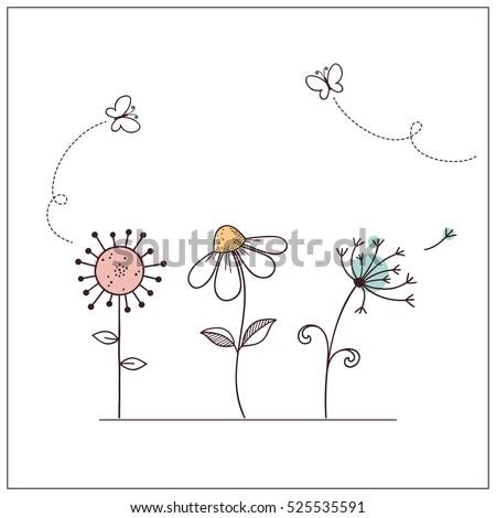 hand drawn doodle flowers set