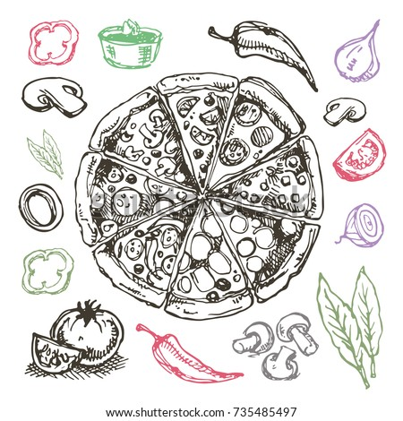 Stock Photo Hand drawn doodle food illustration. Breakfast set. Dish top view.Italian food