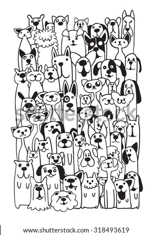 hand drawn doodle funny dogs