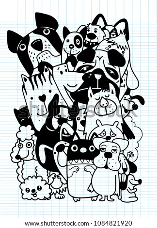 hand drawn doodle Funny Dogs Set, Vector illustration.