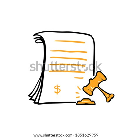 hand drawn doodle gavel and document symbol for penalty icon, financial forfeit, surcharge. isolated background