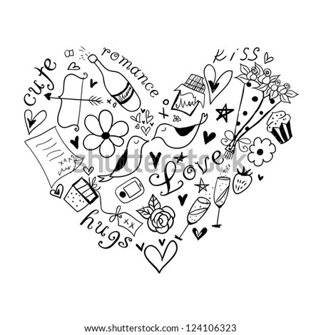 Hand drawn doodle heart shaped Valentine's elements. May be used as foiling for different printings or a background.