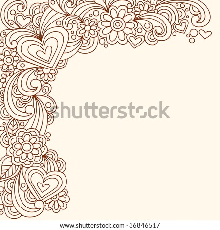 Hand-Drawn Doodle Henna Heart Border Vector Illustration
