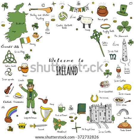 hand drawn doodle ireland set