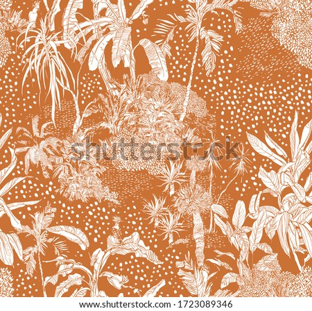 Hand Drawn Doodle Jungle, Tropical Plants Outline Seamless Pattern White on Ochre Background, Exotic Textile Summer Print, Palms with Dots Background Outline Drawing