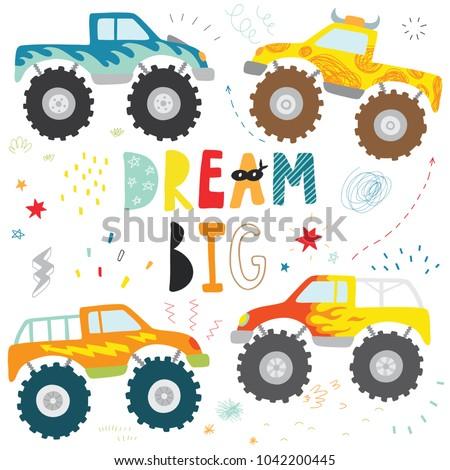 hand drawn doodle kids monster truck set