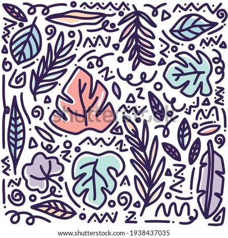 hand drawn doodle leaf set with icons and design elements Stock fotó ©