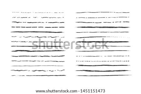 Hand drawn doodle lines. Vintage underline border elements, cartoon frame set, pencil grunge decoration. Vector pen stroke sketch