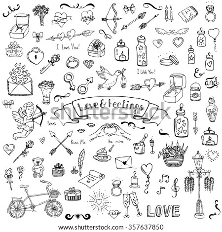 hand drawn doodle love and