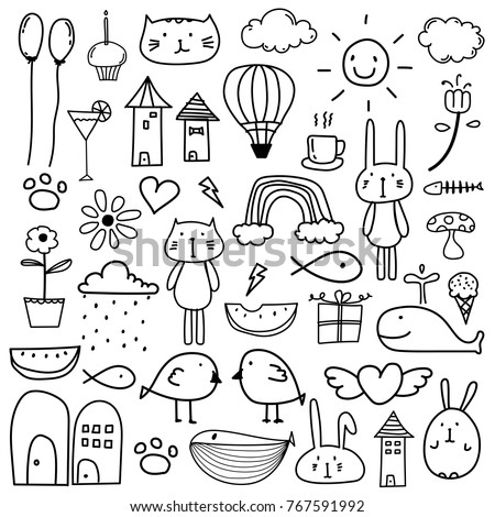 hand drawn doodle lovely vector
