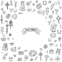 Hand drawn doodle Lucky symbols icon set Vector illustration isolated Luck symbols collection Cartoon wealth element: Ladybug Dreamcatcher Clover Horseshoe Neko cat Wishbone Scarab Charms Good Luck