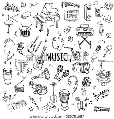 hand drawn doodle music set