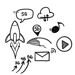 hand drawn doodle Network 5g concept. Fifth generation telecommunications, fast internet connection speed and low latency networks vector illustration set