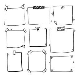 Hand drawn doodle notepaper for messages set