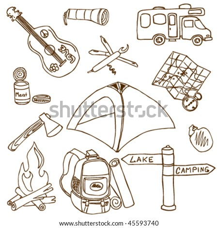 Hand-drawn doodle on the camping theme isolated on white background - stock vector