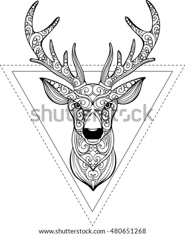 Royalty Free Deer Head Zentangle Stylized Vector